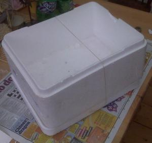 polystyrene cooler for re-use as a planter
